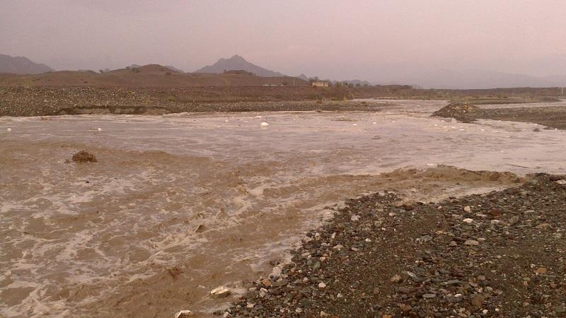 طغیان رودخانه های فصلی منوجان با بارش شدید باران/تصاویر