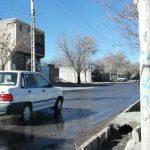 یخ زدگی خیابان رابراز جاری شدن جوی آب در فصل سرما + تصاویر