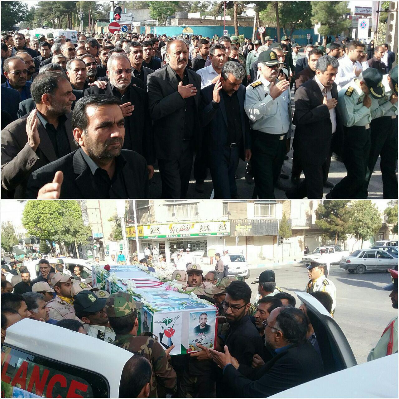 پیکر شهید امنیت « محسن دائی زاده » بر دوش مردم شهیدپرور کرمان تشییع شد