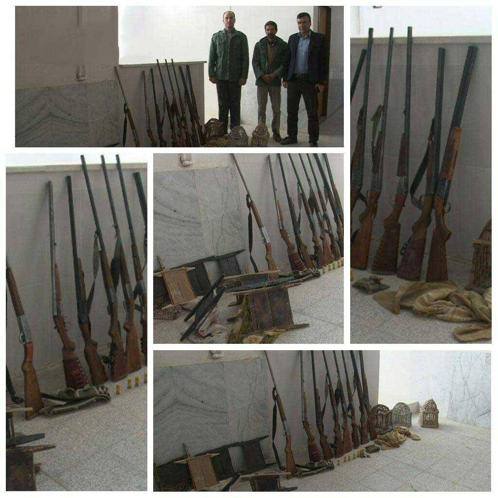 کشف ۱۰ قبضه اسلحه شکاری، ۱۵قطعه پرنده از شکارچیان غیر مجاز در رابر