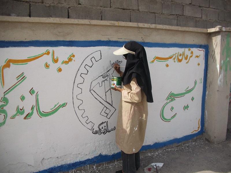 زیباسازی مدارس با دستان جهادگران در رابر