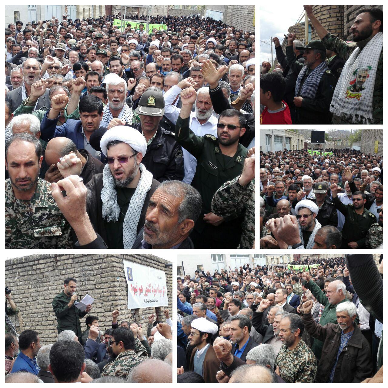 نمازگزاران زادگاه سردار سلیمانی در حمایت از سپاه پاسداران یکصدا شعار مرگ بر آمریکا  سر دادند